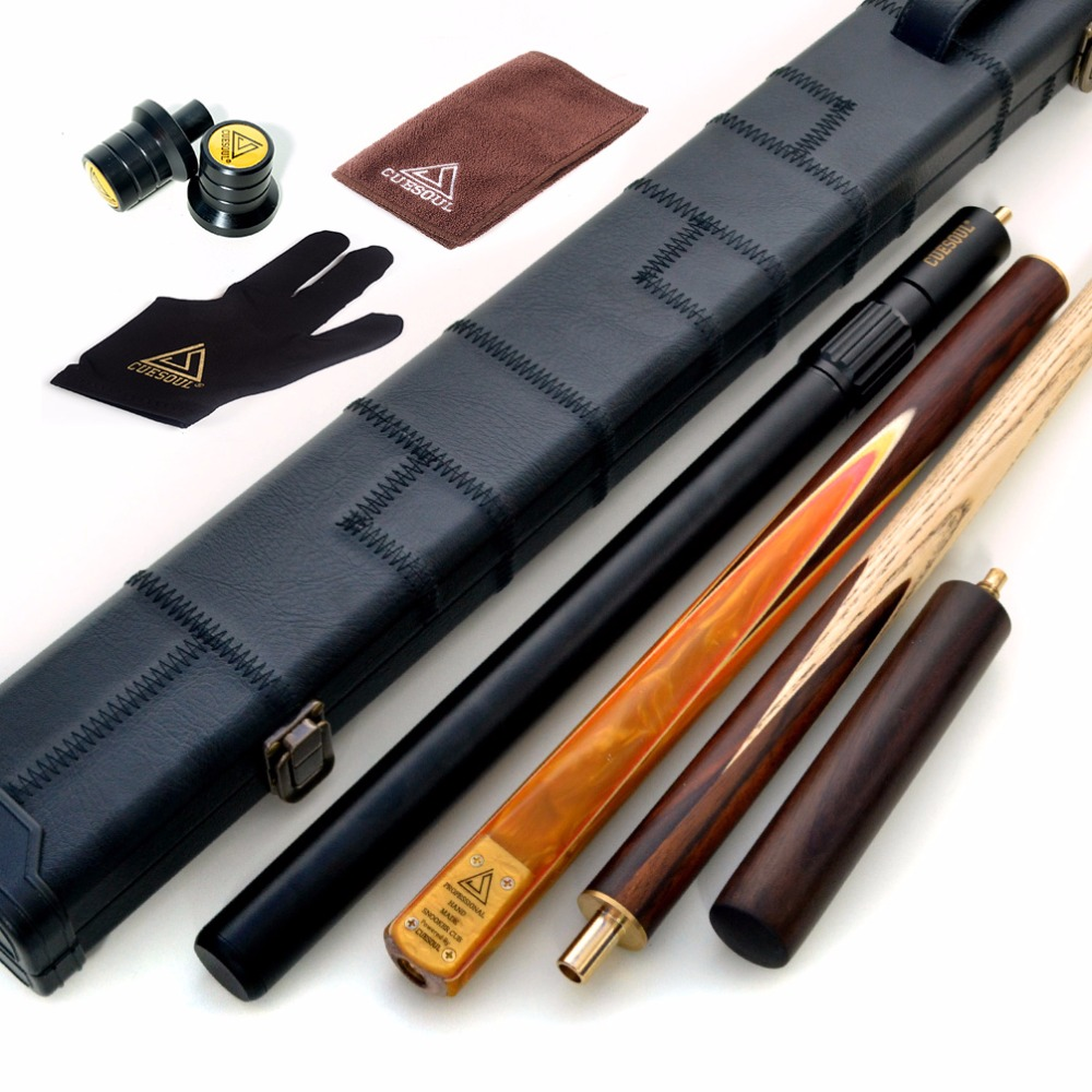 CUESOUL 57 3/4 Jointed Snooker Cue Hand-Spliced with 2 Extensions Packed in Leatherette Cue Case cuesoul classic handmade 57 inch rosewood 3 4 piece snooker cue black cue case and cue extension