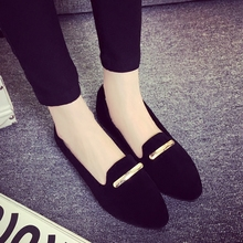 Women Flat Shoes 2016 New Flat with Pointed Shallow Mouth Single Shoes Simple Casual Shoes Slip on Flats Loafers Free Shipping