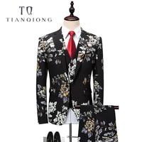 TIAN QIONG Floral Suit Men 2018 Latest Coat Pant Designs Wedding Suits for Men 4XL 5XL 6XL Slim Fit Mens Party Prom Suits QT342