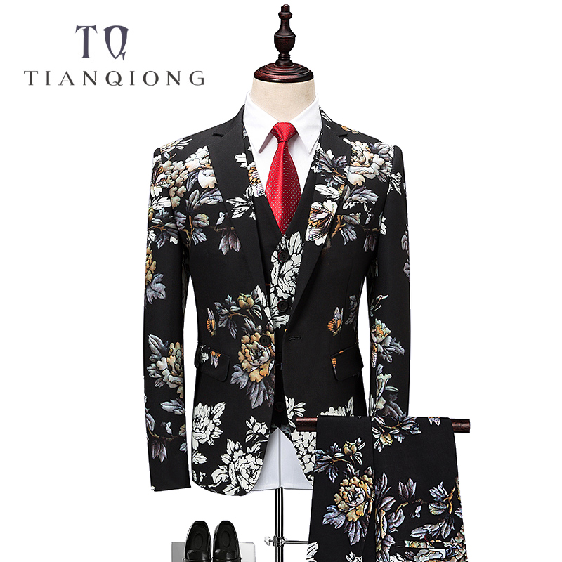 TIAN QIONG Floral Suit Men 2018 Latest Coat Pant Designs Wedding Suits for Men 4XL 5XL 6XL Slim Fit Mens Party Prom Suits QT342