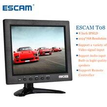 ESCAM T08 8 inch TFT LCD 1024×768 Monitor With VGA HDMI AV BNC USB For PC CCTV Security Camera Plug Type EU/US/AU/UK