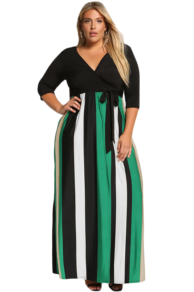 Green-Color-Blocked-Skirt-Plus-Size-Maxi-Dress-LC610502-9-1