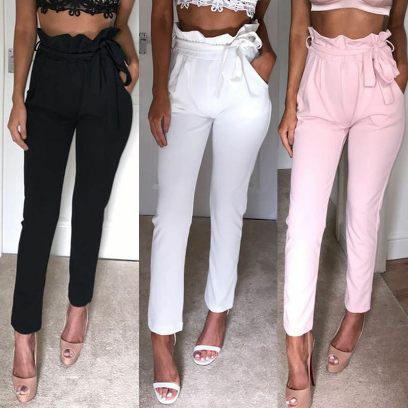 Dropshipping Sexy Women Pink White Stretch Casual Skinny Pants High Waist Belts Pencil Leggings Stretchy Trousers