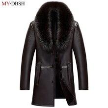 2018 новый бренд Зима Весна Длинные куртки человек меховой воротник Тренчи для женщин Пальто для будущих мам мужские Однобортный кожа Пальто для будущих мам jaqueta couro masculina