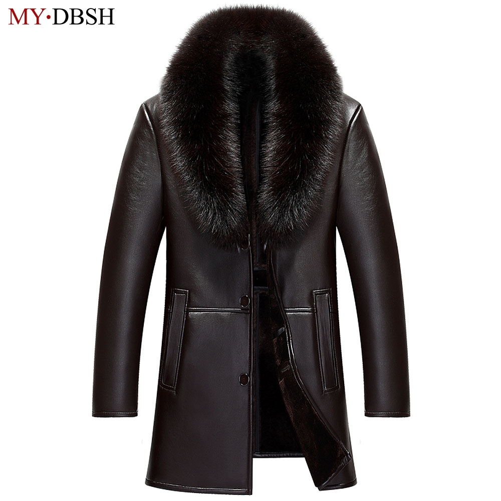 2018 New Brand Winter Spring Long Jackets Man Fur Collar Trench Coats Mens Single Breasted Leather Coats jaqueta couro masculina