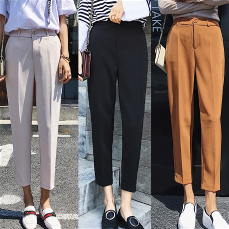 women's Work Pant White Women Harlan Pants Casual Pencil Pant High Waist Elegant Work Trousers Female Casual pantalon femme
