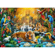 Full Square/Round Drill 5D DIY Diamond Painting Tiger Buddha Embroidery Cross Stitch  Home Decor Gift 5d diamond painting religion buddha flower cross stitch diy full square or round diamond embroidery picture home decoration gift