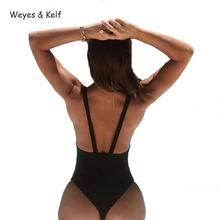 Weyes & Kelf Hot Spring Sexy Solid Hollow Out Bodysuits Women 2018 Sleeveless Backless Bodysuit Double Layer Fabric