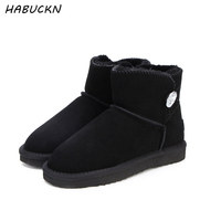 HABUCKN real sheepskin leather short ankle suede UG snow boots for women wool fur lined winter shoes with button boots red brown