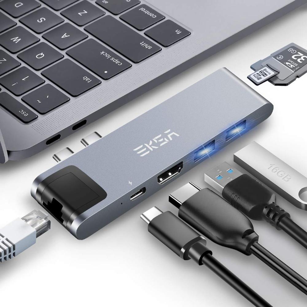EKSA USB C HUB vers 4K HDMI Ethernet RJ45 Thunderbolt 3 USB 3.0 adaptateur pour MacBook Pro 13 15 Type C HUB 100W livraison d'énergie