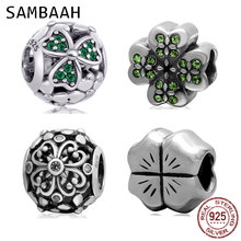 Sambaah Shamrock Clover Charm with CZ 925 Sterling Silver Lucky Four Leaf Clover Beads fit Original Pandora Spring DIY Bracelet geoki 925 sterling silver rose gold white cubic zirconia clover silicone safety chain fit original pandora bracelet leaf charm