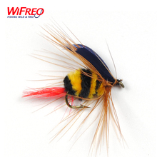 10PCS Wifreo Free Box Yellow and Black Bumble Bee Fly Insect Imitation Artificial Fishing Bait Dry Fly for Trout Fishing Size 10