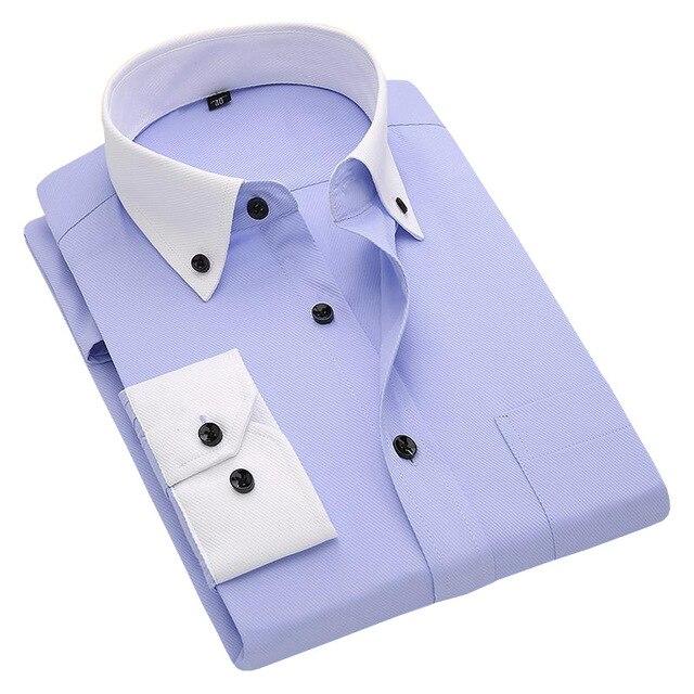 Люксовый Бренд Весна 2017 Мужчин С Длинным Рукавом Рубашки Лоскутное Плед Белый Воротник Сплошной Цвет Мужчины Бизнес Повседневная Рубашка Большой