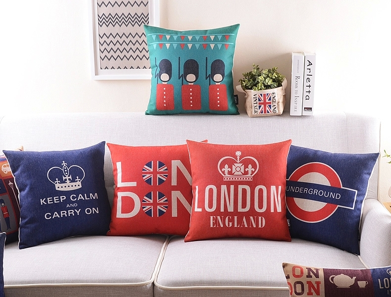 London UNDERGROUND Cushion Cover Linen Cotton Keep Calm