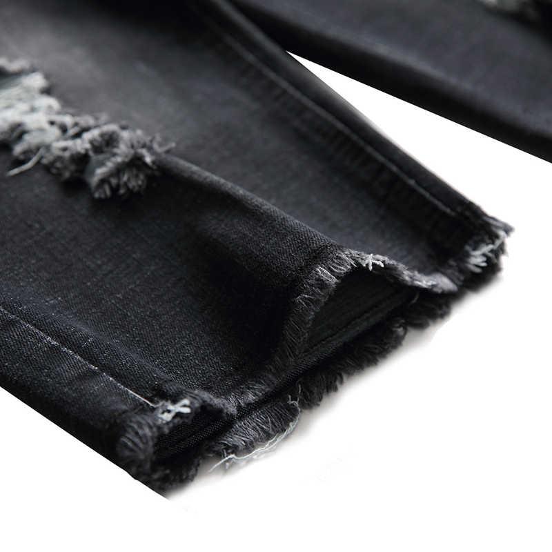 HMILY spodenki jeansowe męskie jeansy moda na co dzień Hole krótkie dżinsy koreański wygodne szorty duży rozmiar krótkie spodnie czarny kolor