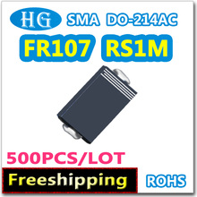 SMD FR107 RS1M DO-214AC SMA 1A 1000 В 500 шт./лот быстрое восстановление выпрямителя данных внутри Мы можем предложить бесплатные образцы высокое качество
