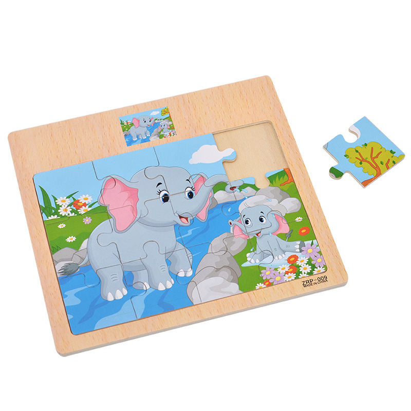 Kids Wood Puzzle Common Animal Jigsaw Puzzles Cartoon Cutely Traffice Cognitive Puzzle Education Developmental Toy For Children