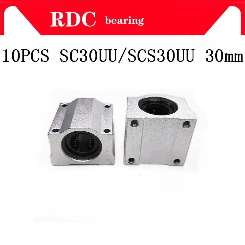 High-quality 10pcs SC30UU SCS30UU Linear Ball Bearing Motion Bearing CNC sc30uu scs30uu linear motion ball bearing cnc slide bushing 30mm inner diameter