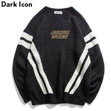 DARK ICON Letter Embroidery Double Stripes Round Neck Men's Sweater 2018 Winter High Street Sweater Men Black Grey