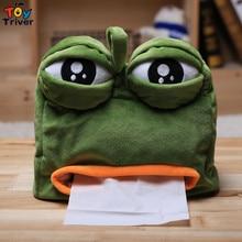 цены Triver Toy quality Kawaii Cartoon Green Sad Frog Plush Animal Shaped Tissue Box Case Napkin Paper Holder free shipping