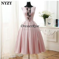 Vestido Robe Cocktail Dresses NYZY C151 Sexy Open Bust Rosettes Pink Satin Dress Party Homecoming abendkleider 2019