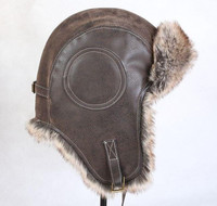 Super warm! Autumn and winter men women's thicken thermal faux fur leather hat skiing motorcycle flying hat warm cap