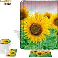 HUGSIDEA 4PCS/SET Sunflower on the Tree Shower Curtain And Mat Set Waterproof Polyester Bathroom Fabric For Kids' Bathtub Decor