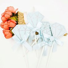 5pcs/ bag Diamond shaped Food Toothpick Paper Picks Cake Toothpicks Cupcake Wedding Birthday Party Accessories