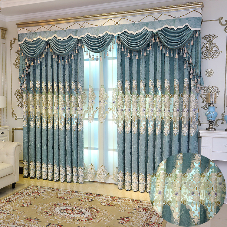 Curtains for bedroom Curtain Chenille Embroidered Curtain Cloth Living Room Jacquard Curtain Screens Custom Wholesale