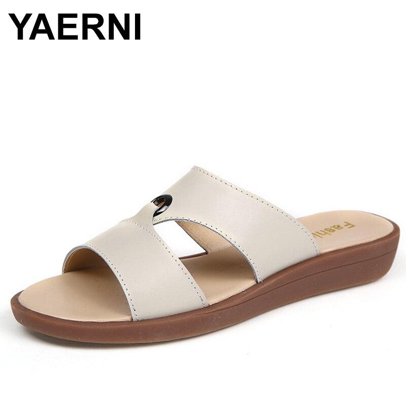 YAERNI лето модная женская обувь Шлепанцы снаружи Для женщин тапочки удобные шлепанцы женские босоножки Дамская пляжная обувь