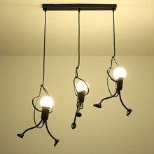 Креативный Железный маленький человек светодиодный подвесной светильник современные декорации в помещении ресторан кафе магазин одежды светильник Лампада