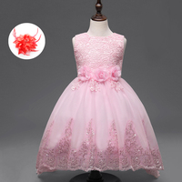 Flower Kids Baby Girl Princess Lace Dress Children Red White Purple Hot Pink Lace Ball Gown Girls Party Dress Kids Elegant