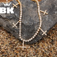 THE BLING KING 5mm CZ Tennis Necklace Iced Out Zircon 1 Row Tennis Necklace Hip hop Jewelry