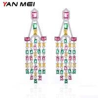 YAN MEI 2018 Club Factory Clear Mix Color Cubic Zirconia Flower Shape Long Earrings Christmas Gift GLE6644