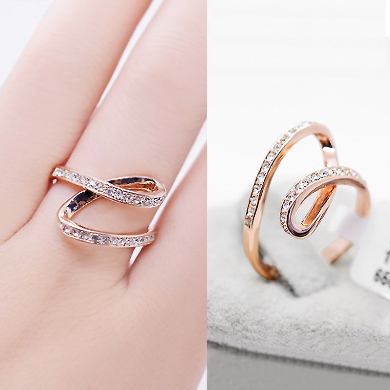 USTAR geometric style crystals Rings for women Rose gold color wedding Rings female emgagement anel party gift top quality