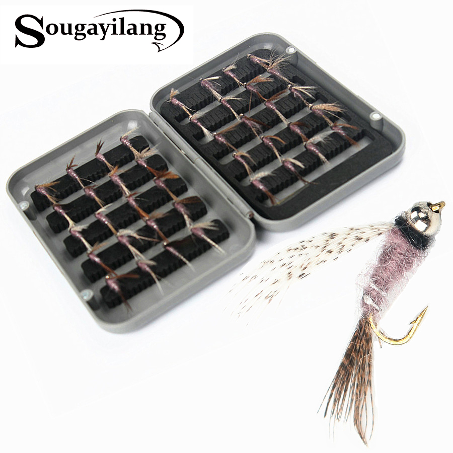 Sougayilang High Quality 40pcs/ Box Exquisite Fly Fishing Lure Single Hook Dry Fly Fishing Trout Salmon Set Flies Fishing Lures joshnese fly fishing lure large waterproof fly fish box fly box fishing storage quality swing leaf black free shipping