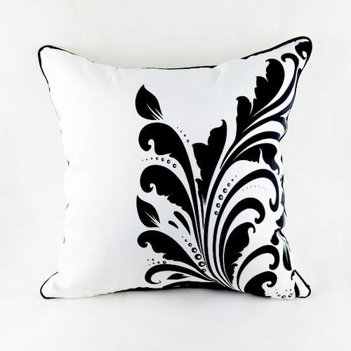 18in * 18in Vintage decoratieve kussensloop zwart witte bloemenprint - Thuis textiel