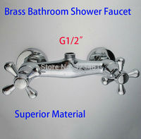 Brass Double Handle Bathroom Shower Faucets Mixer Wall Mounted Bath Faucet Taps Hot Water Shattaf Valve