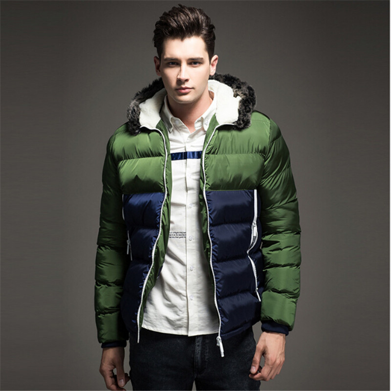 Tide mens quality coat 2017 winter new thickening cotton stitching hooded big hair collar warm casual mens coat tide
