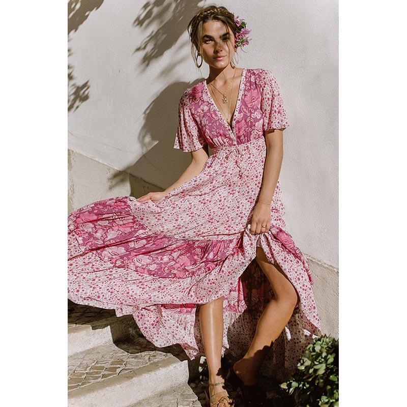 Summer Short Sleeve Women Long Latern Dress Sexy Deep V -9638