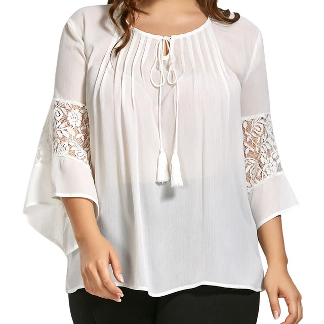 5XL large Women Female Shirt Blouse Plus Size Loose Lace Tassels Pullover Three Quarter Sleeve Casual top Spring Summer Shirt