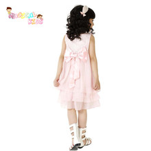 New Summer Sleeveless Clothing Baby Girl Pink Dresses Children Clothes Princess Lovely Kids Chiffon Lace Dress with Necklace
