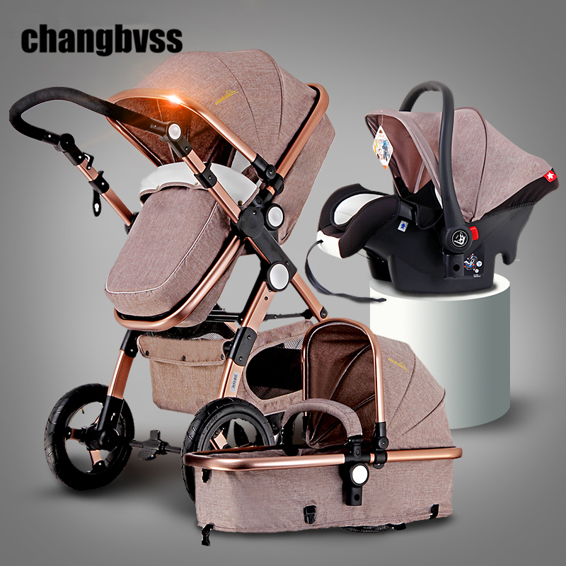 New Luxury Baby Stroller 3 in 1 High Landscape Infant Baby Stroller with Car Seafty Seat