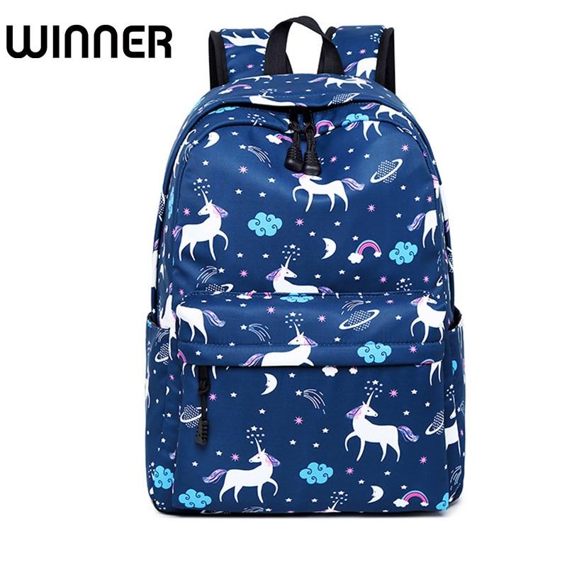 Cute Waterproof Nylon Women Unicorn Animal Printing Backpack Female Daily Bagpack Schoolbag for Teenagers Girls Laptop Bookbags
