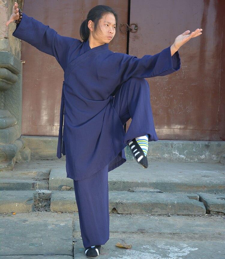 Wudang даосская форма для кунгфу Тай Чи халат шаолин одеяния буддийских монахов Кунг Фу льняной комплект ушу боевые искусства костюм-in Китайский народный танец from Новый и особенный в использовании