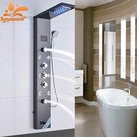 Ванная комната светодиодный дождь смеситель для душа Установить матовый Никель и ORB Температура Экран душ Панель Водопад кран массаж спины