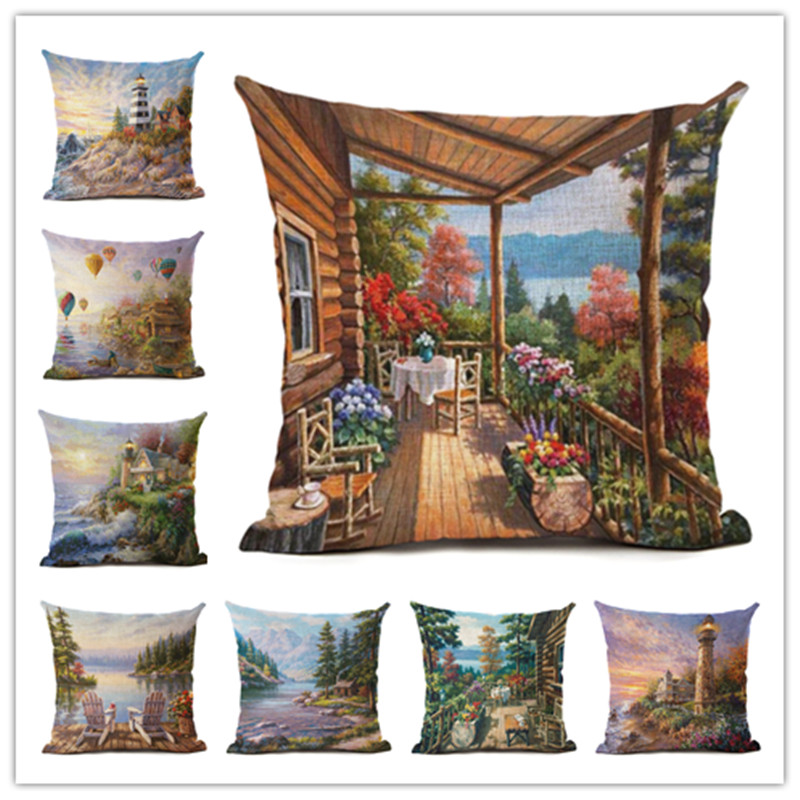 Hot Selling Quiet Town 2 Linen Cotton Square Retro Floral Home Decor Throw Pillow Cushion Cover Cojines
