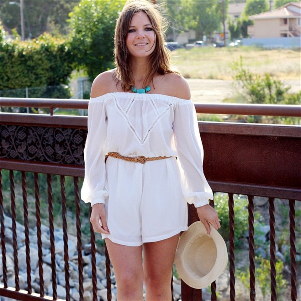 3a74e0d94002 Women Fashion Sexy Summer Style White Off Shoulder Rompers Womens Jumpsuit  Loose Shorts Long Sleeve Romper Playsuit on Aliexpress.com