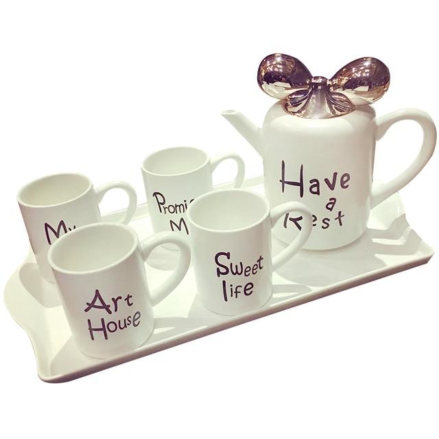 1 Teapot 4 Cups Tray Authentic 6 Pcs Bona China Tea