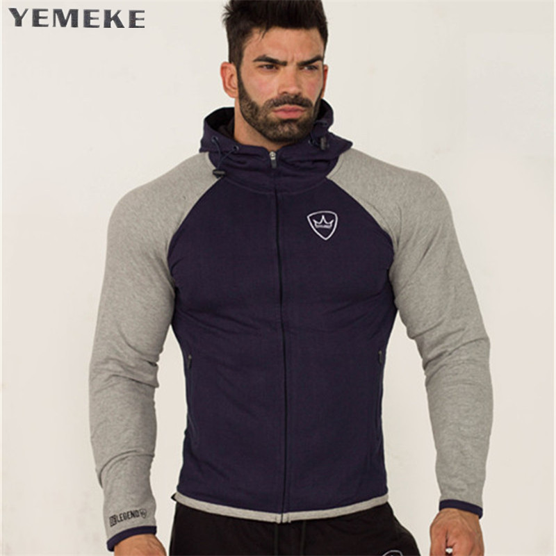 YEMEKE 2018 New Men Hooded Solid Patchwork Sweatshirts Men Women Hoodies Fitness Streetwear C Male Pullover Hoody